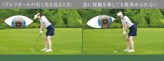 〈ゴルフボールの行く先を見るとき〉急に視線を移しても視界がぶれない(イメージ図)