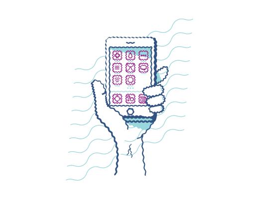 携帯電話の画面を見るときの乱視の見え方