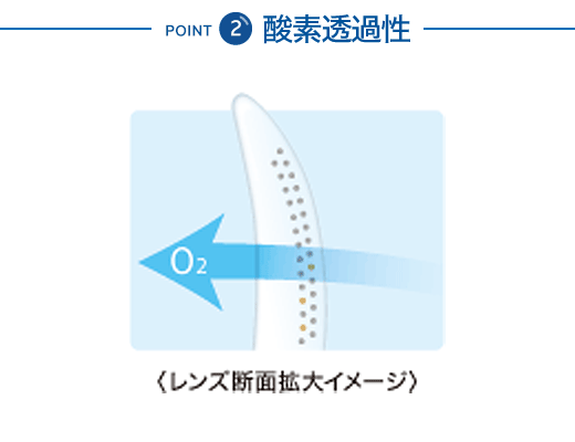 POINT 2 酸素透過性 レンズ断面拡大イメージ